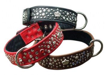Lederhalsband und Leine von Dogs Kingdom rot